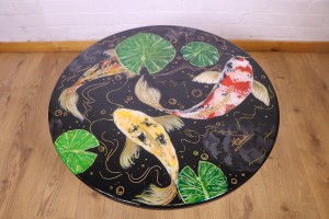 Hand-Painted Coy Carp Table